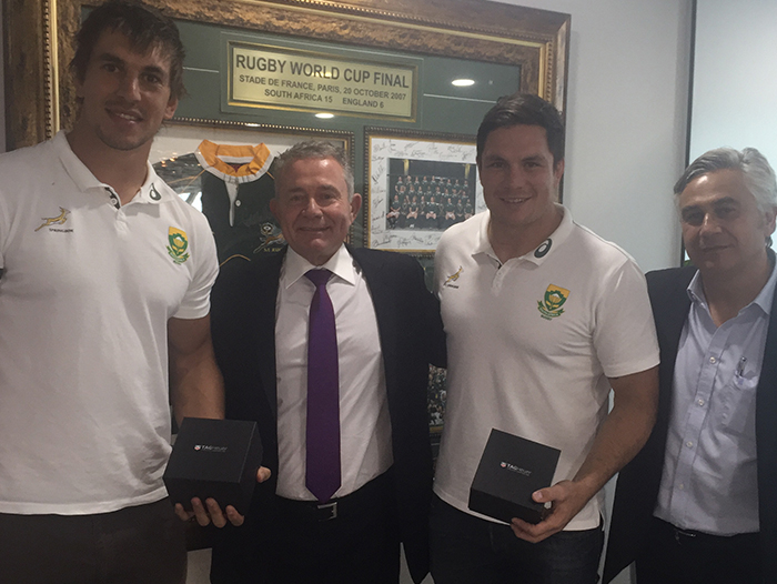 Gavin Varejes celebrates Boks 50th Test